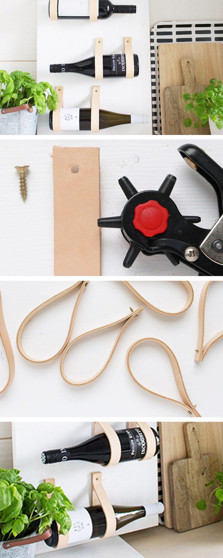 diy tutorial make a leather wood wine rack via dawanda. Black Bedroom Furniture Sets. Home Design Ideas