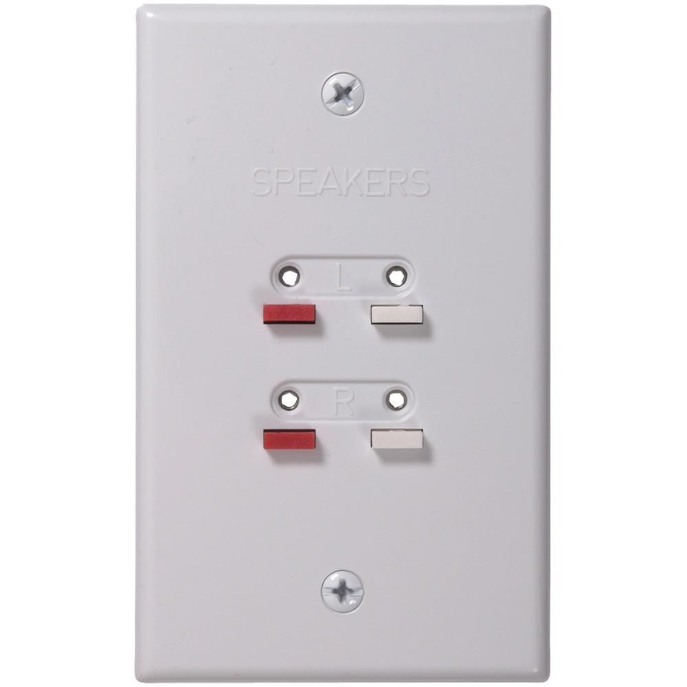 RCA AH300WHR Stereo Speaker Wire Wall Plate (White). Allows ...