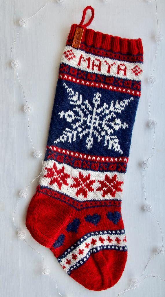Christmas Stocking pattern, knit PDF stocking pattern, Christmas ...