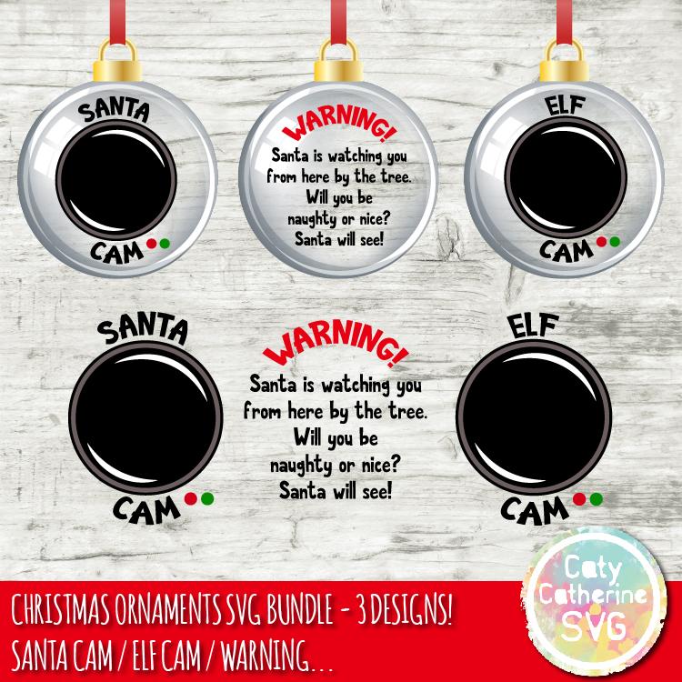 DIY Christmas Ornaments SVG Bundle Santa Cam Elf Cam