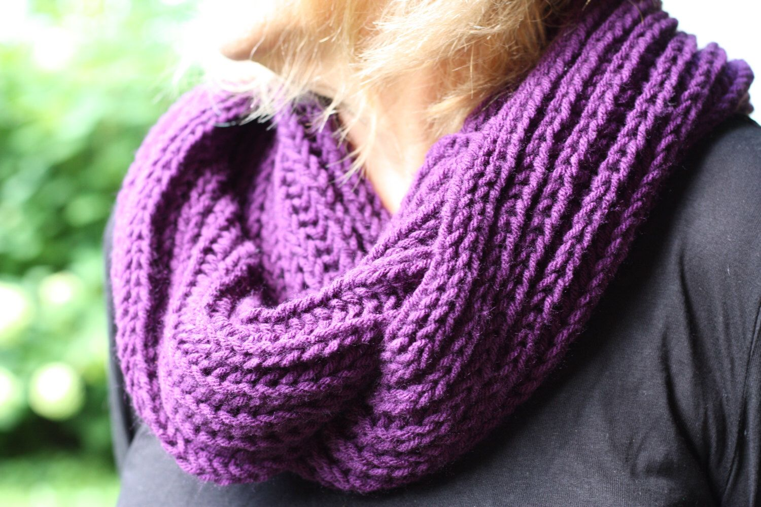 Purple infinity scarf. Chunky brioche knitting pattern is thick ...
