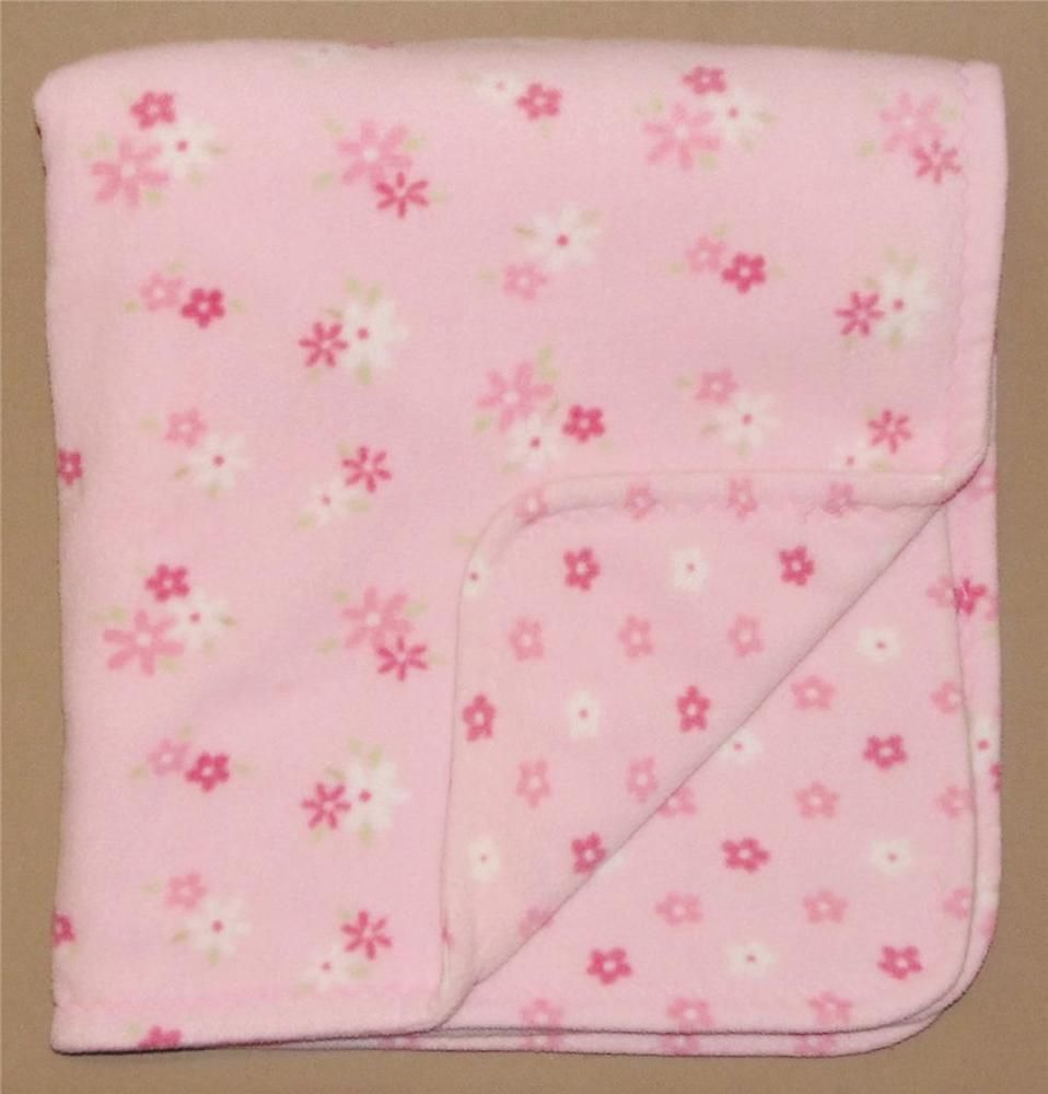 Carters Just One Year Pink White Fleece Flower Baby Blanket