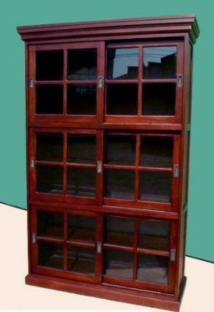 D Art 3 Section Sliding Door Bookcase Cabinet In Mahogany