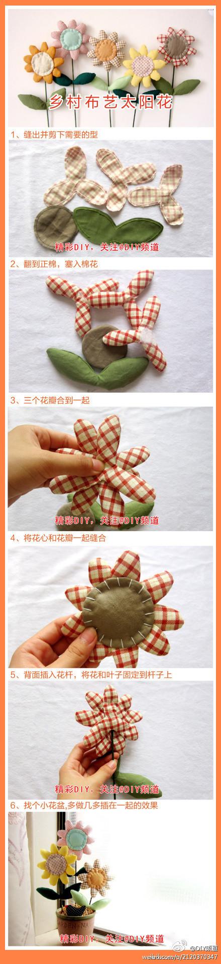 Making your own felt flowers for a flowerpot. Cute idea. :)