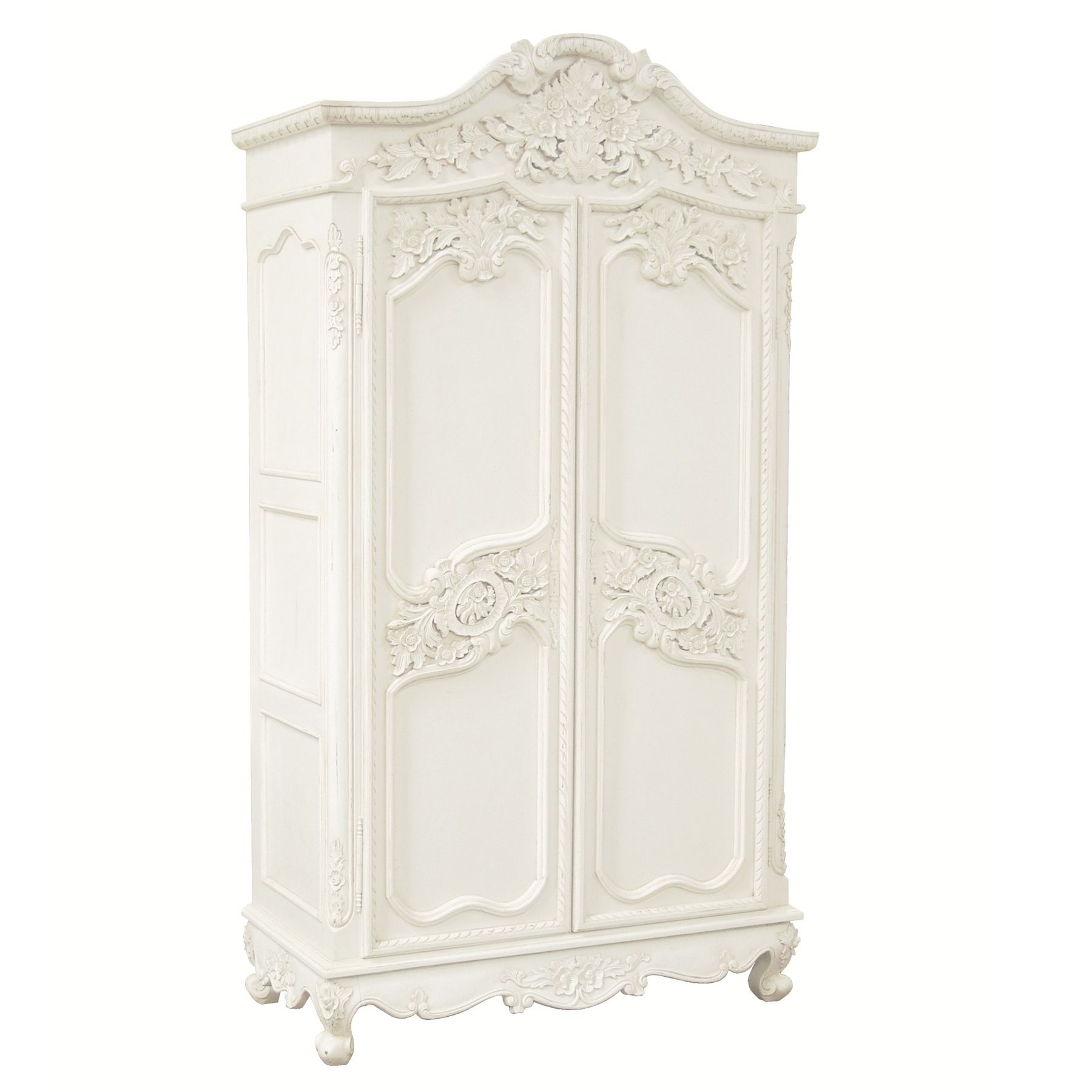 white wood wardrobe armoire shabby chic bedroom. Possibly One Of The Most Beautiful Antique White Distressed Carved Armoires We Have Seen. Amazing Attention To Detail With Solid Rail And Removable Shelf Wood Wardrobe Armoire Shabby Chic Bedroom