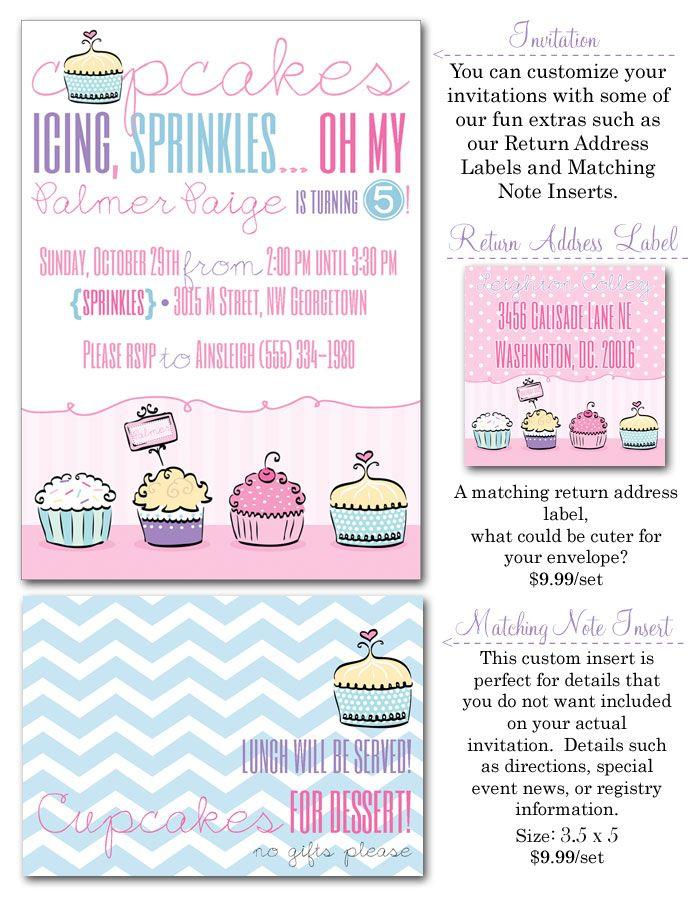 cupcake birthday party, cupcake party invites, chevron invites ...
