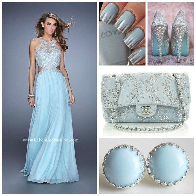 La Femme 21454 ~ long prom dress ~ frozen ~ chiffon gown ~ embroidered bodice ~ chanel ~ halter neckline ~ open back dress ~ blue prom dress ~ stunning ~ holiday dress ~ accent nail ~