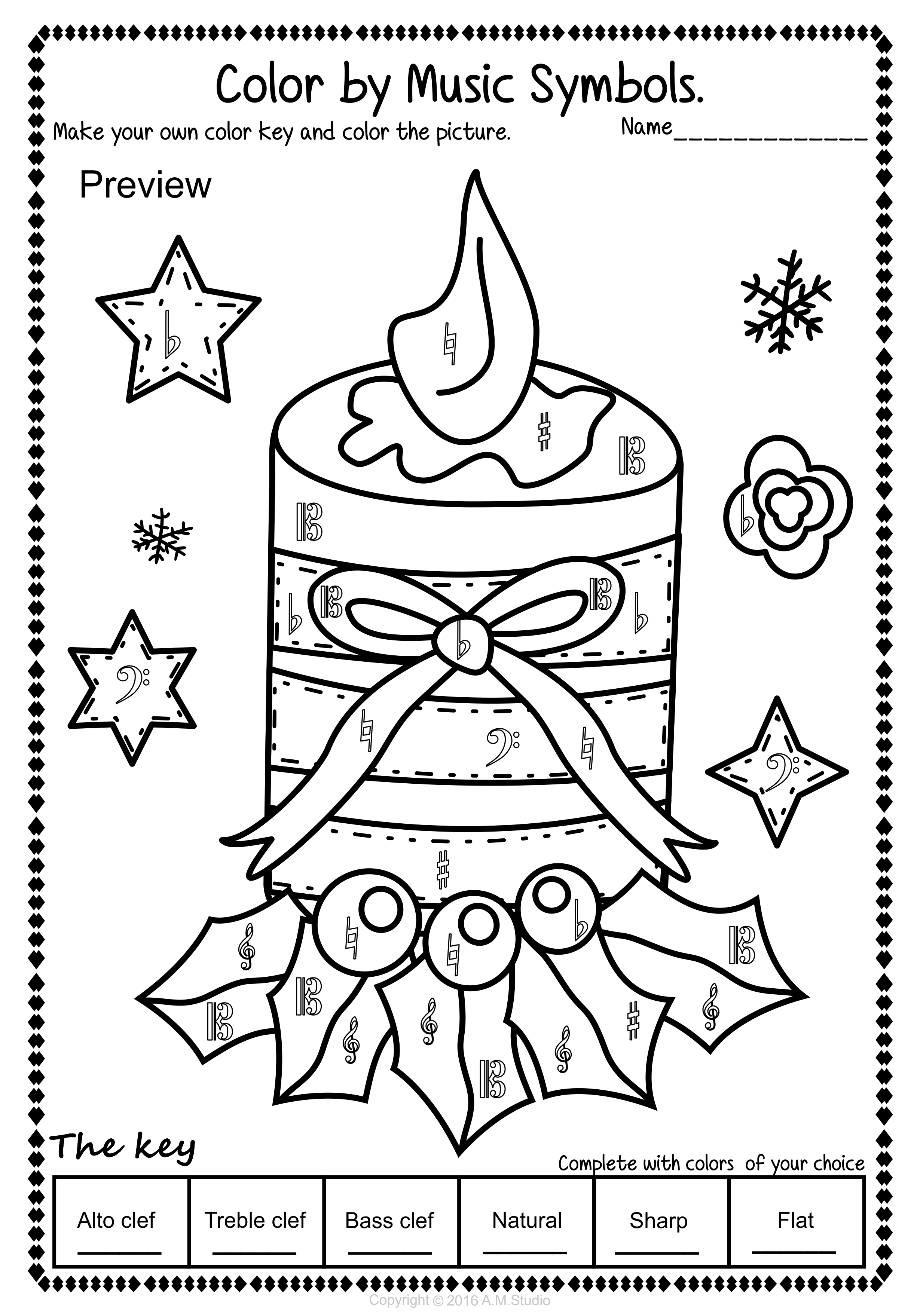 hight resolution of Simple and Fun Christmas Music Coloring Activity for Kids. This set  contains 14 …   Christmas music coloring