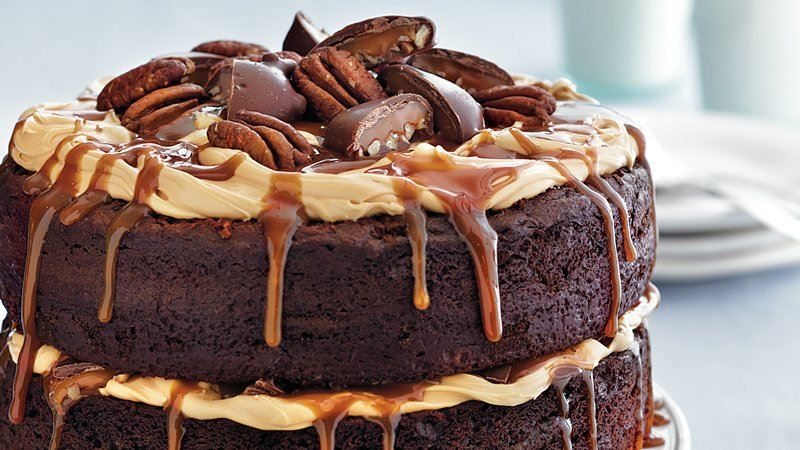 Chocolate Turtle Layer Cake Recipe Delicious chocolate Betty