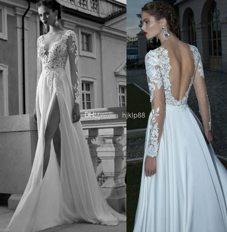A line Deep V Neck Side slit Sexy Backless Wedding Dress Sheer Sleeve  Applique Chiffon Berta Bridal Winter Long Sleeve Wedding Dresses GownsDiscount A line Deep V Neck Side Slit Sexy Backless Wedding Dress  . Long Sleeve Backless Wedding Dresses. Home Design Ideas