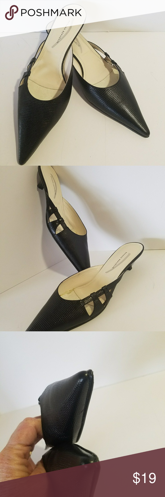 "Kitten Slides Heels Banana Republic Black Size 6.5 Banana Republic - Kitten Heels - Slides - 1"" Heels - Pointy Toed - Black - Size 6.5 - PreOwned - VGC Item#01-09S Banana Republic Shoes Heels"