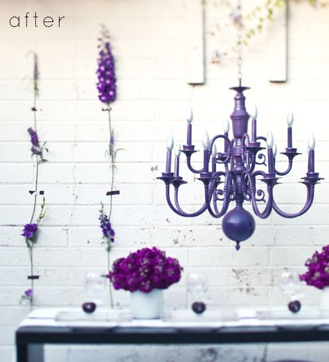 With a class chandelier painted a fresh color in the breakfast nook.  Light blue? Green? Purple?