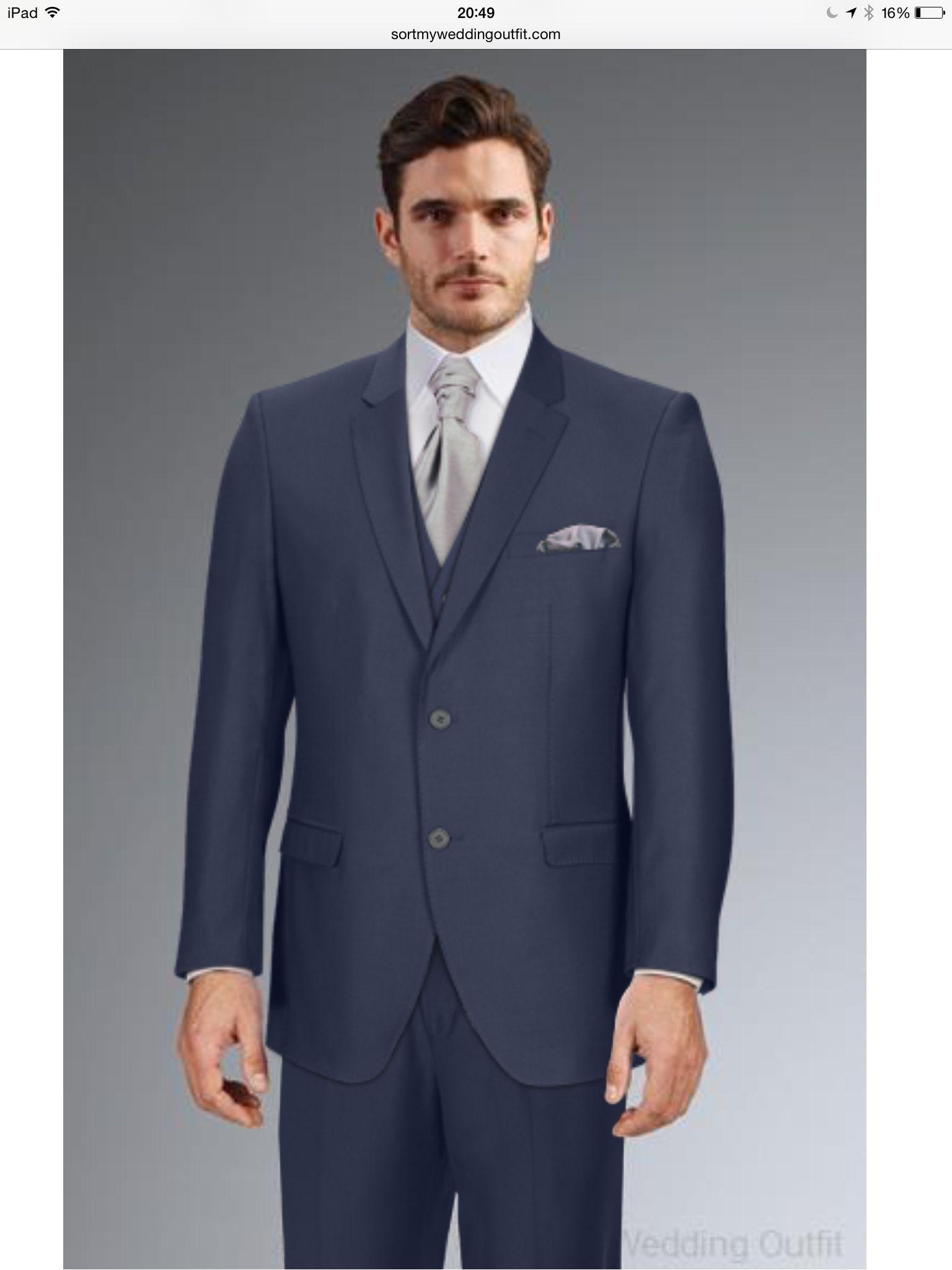 0f5cf10d2c91 Men's Navy suit with silver cravat | Mine | Black waistcoat, Suits ...