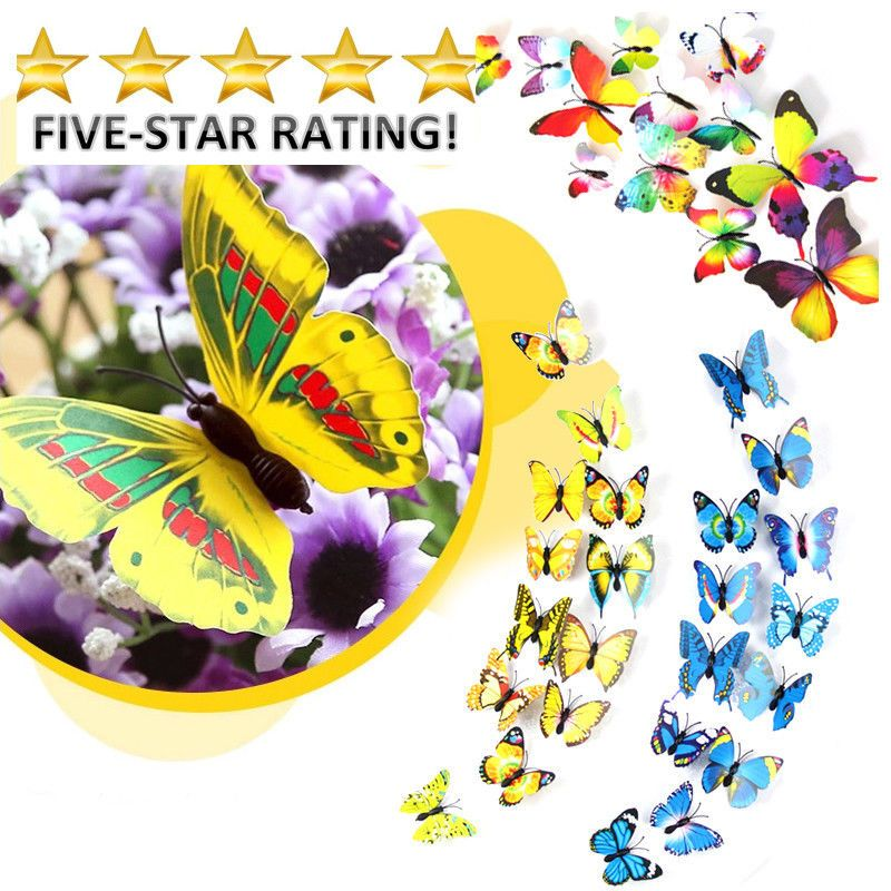 12 pieces/lot PVC 3d Butterfly wall decor cute Top Quality ...