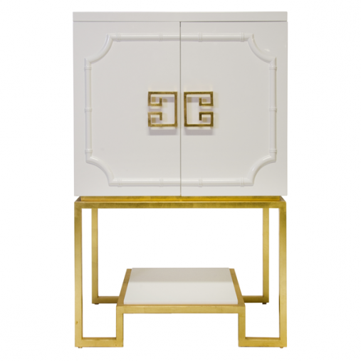 Worlds Away U2013 Anna WH (white) U2013 White Lacquered Bar Cabinet With Gold  Leafed Base And White Lacquer Shelf. The Interior Is Two Sided And Has  Adjustable ...