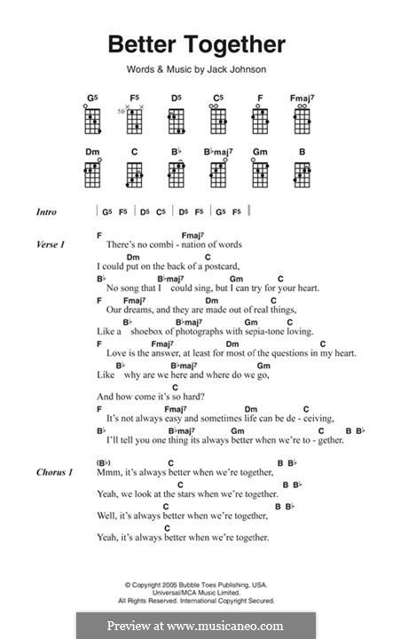 Better Together Lyrics And Chords By Jack Johnson Ukulele In 2018