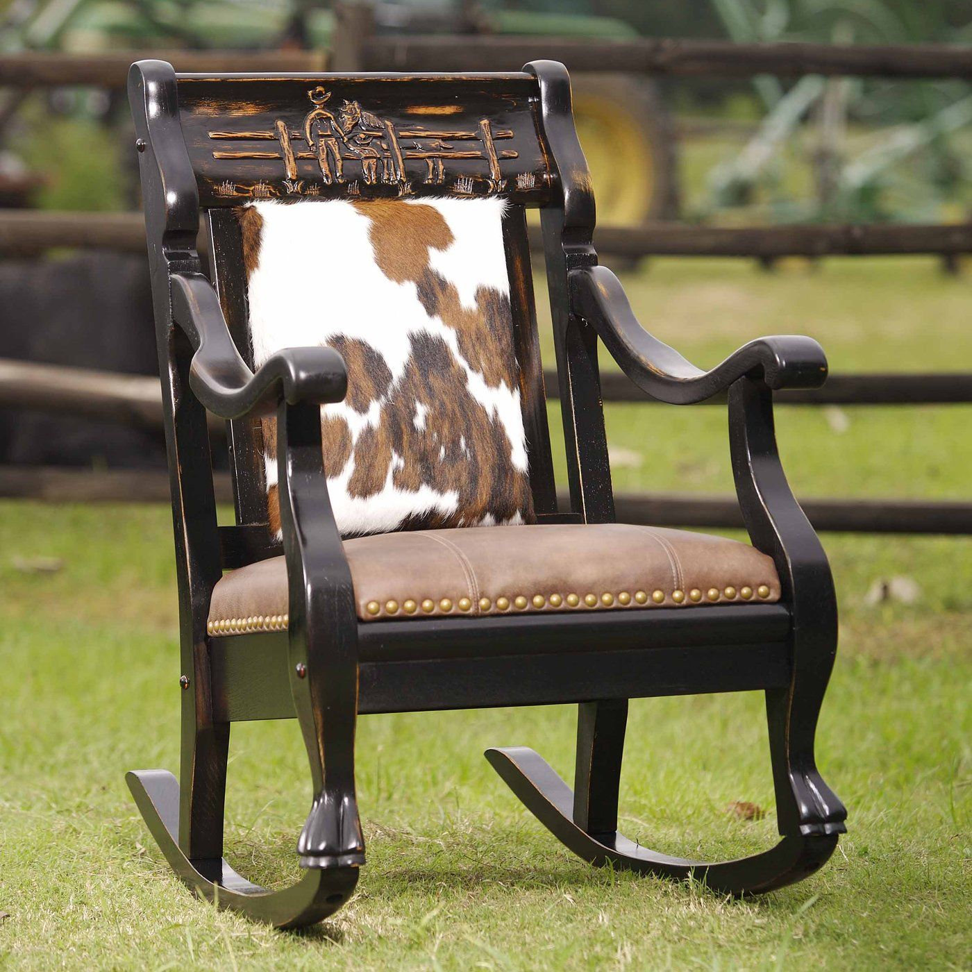 Country Road Furniture 2002RFS EA Father Son Rocker Rocking Chair, Ebony  Amber | ATG Stores