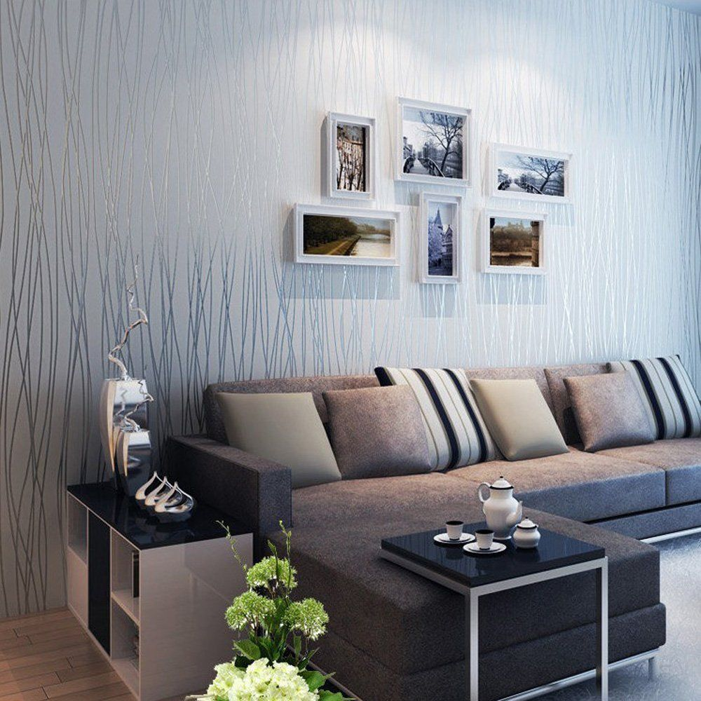 20 Living Rooms With Beautiful Use Of The Color Grey Striped Wallpaper Living Room Living Room Sofa Wallpaper Living Room Wallpaper home decor living room