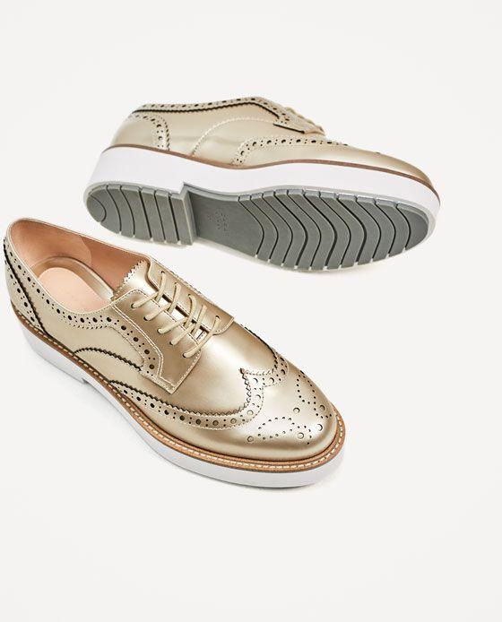 e9c4b305 ZARA - WOMAN - GOLD PLATFORM BROUGUES Blucher Plataforma, Zapatos De  Invierno, Zapatos Zara