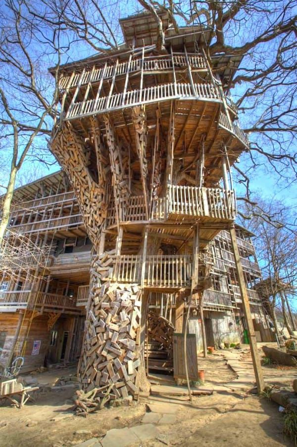 the worlds biggest tree house located in crossville tennessee designed by minister horace burgess the structure relies on six oak trees as the base to