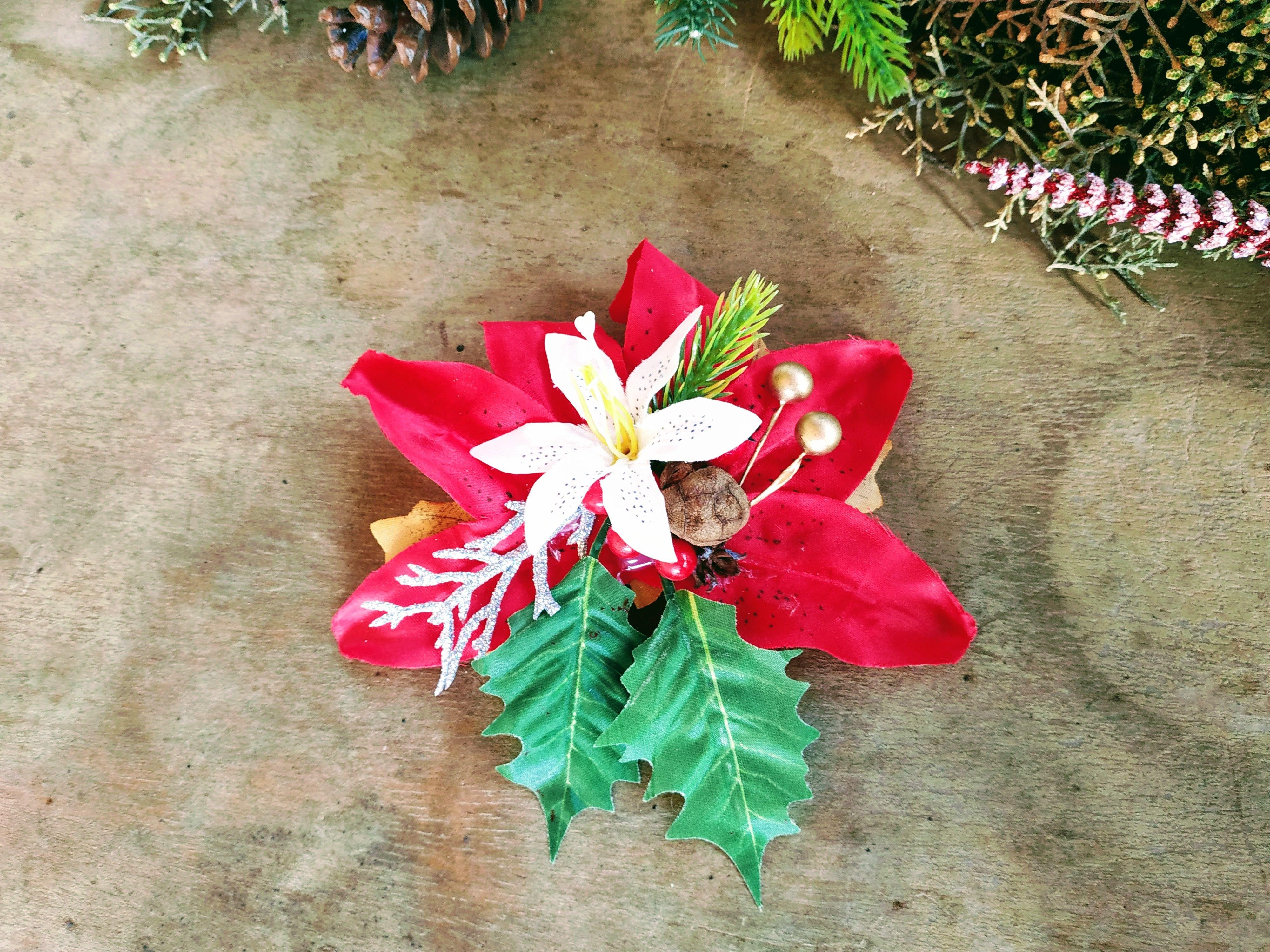 Christmas Hair Clip Holly Mistletoe Poinsettia Christmas Hair Flower Hair Accessories Flower Clip