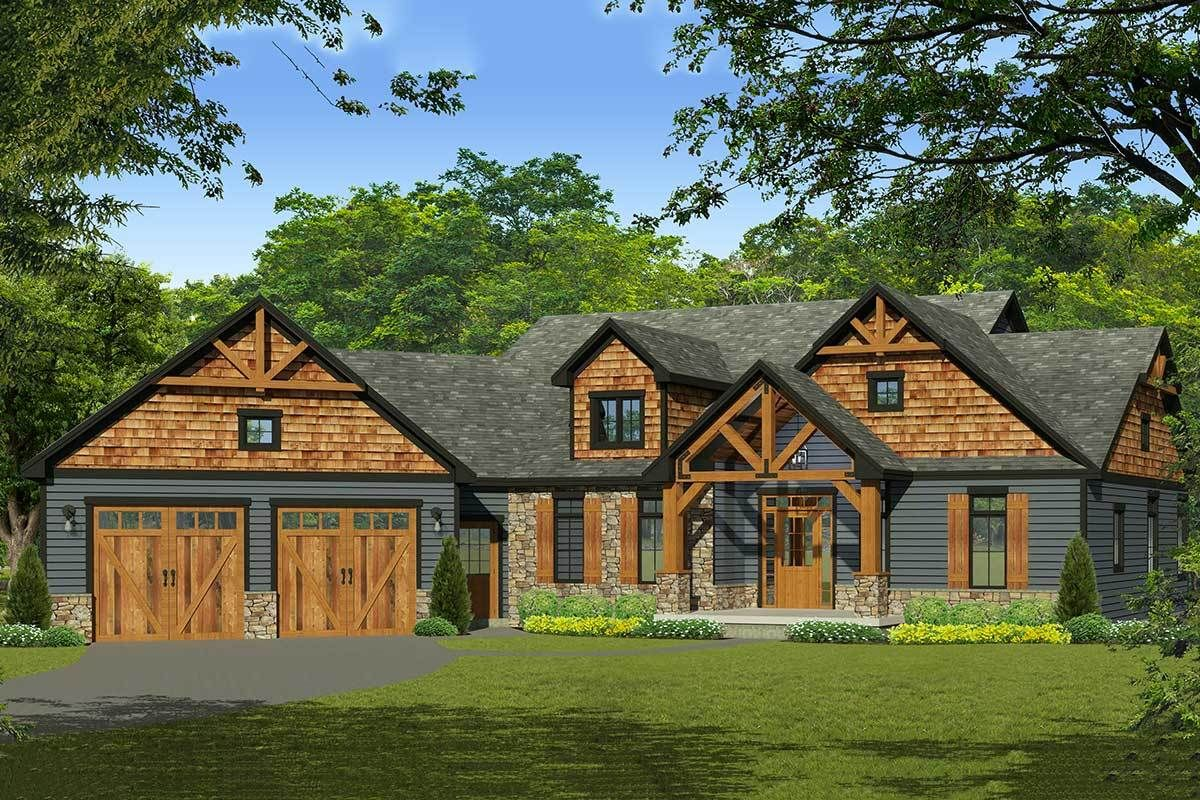 Plan 790036glv 3 Bed Mountain Craftsman With Great Outdoor Spaces In Back Craftsman Style House Plans Rustic House Plans Ranch Style House Plans