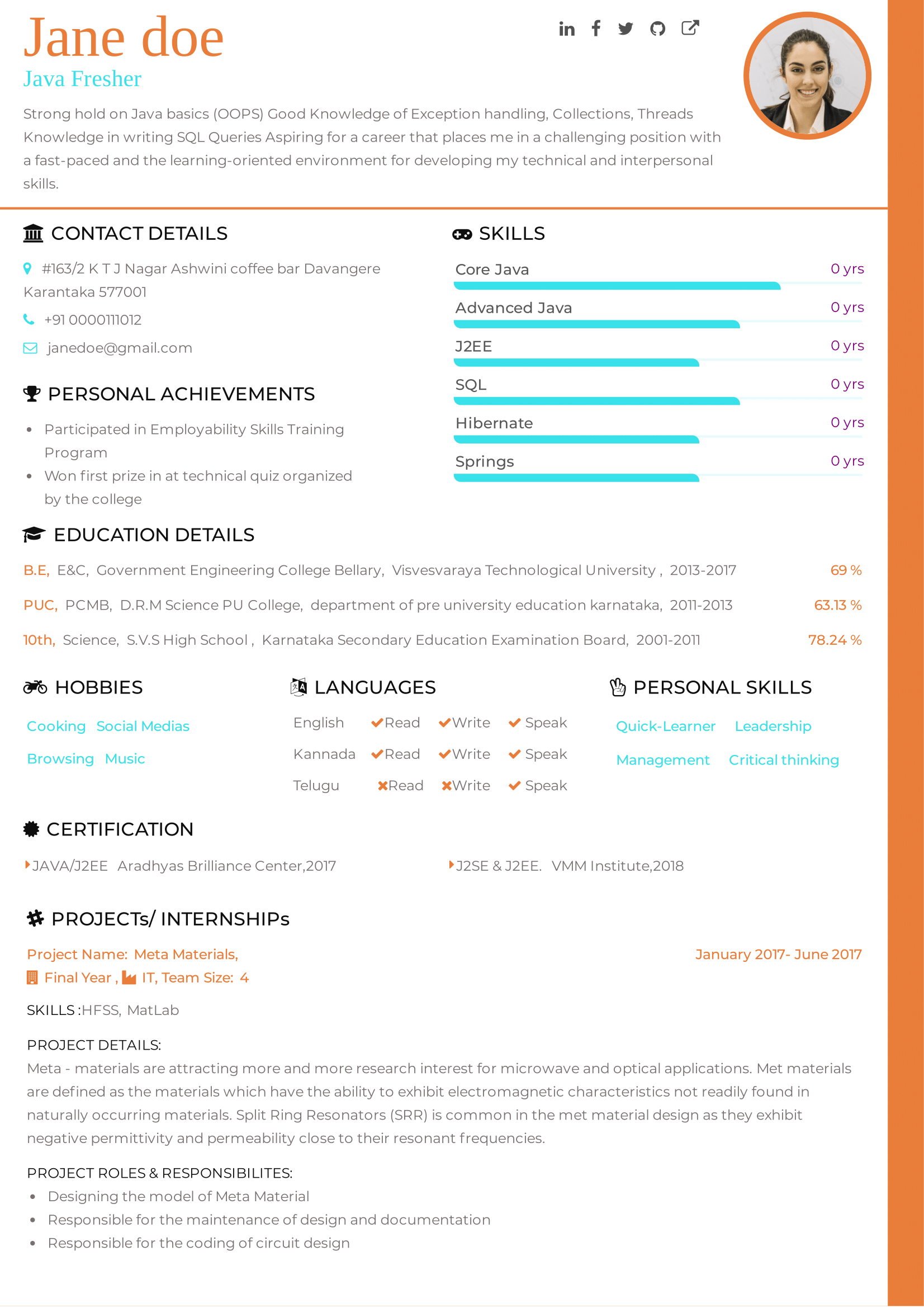 An attractive CV template suitable for freshers. A one