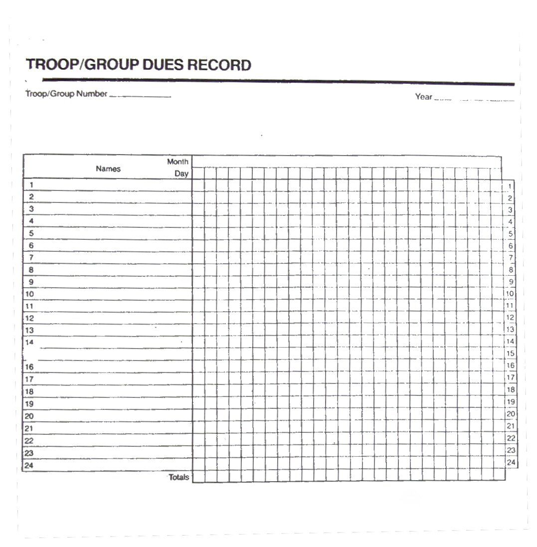 Girl Scout Attendance Sheet  Chart Girls Records Insignia Records