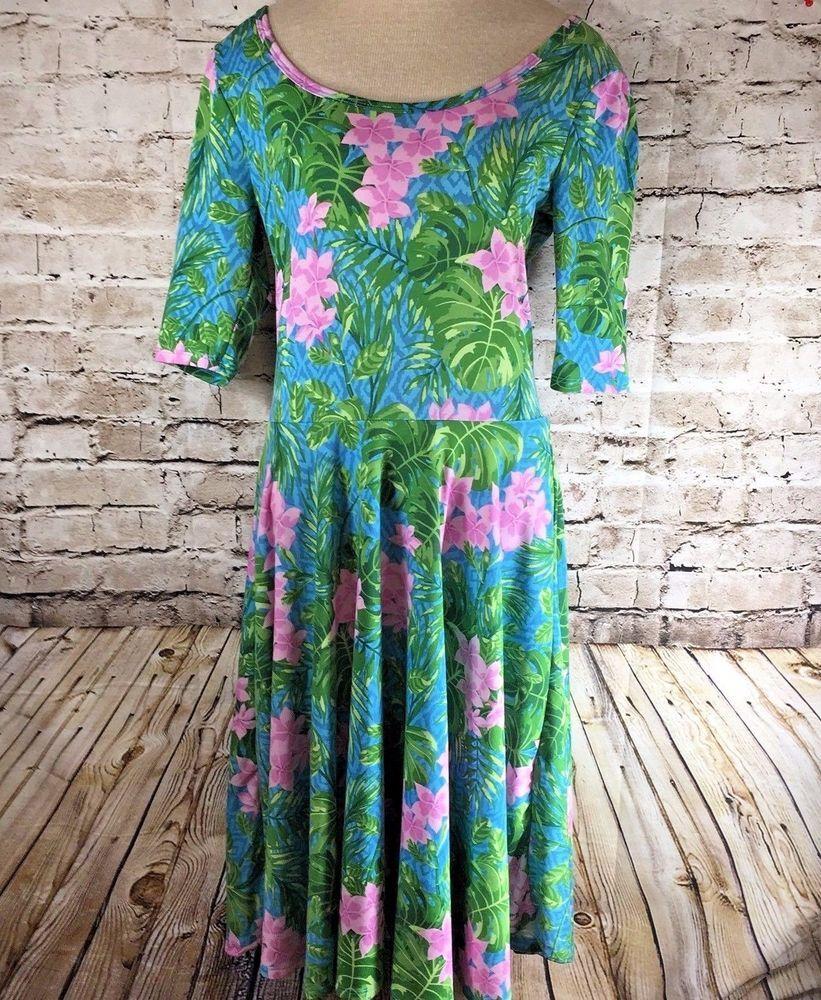 Lularoe Llr Nicole Dress Size Medium Green Pink Hawaiian Floral