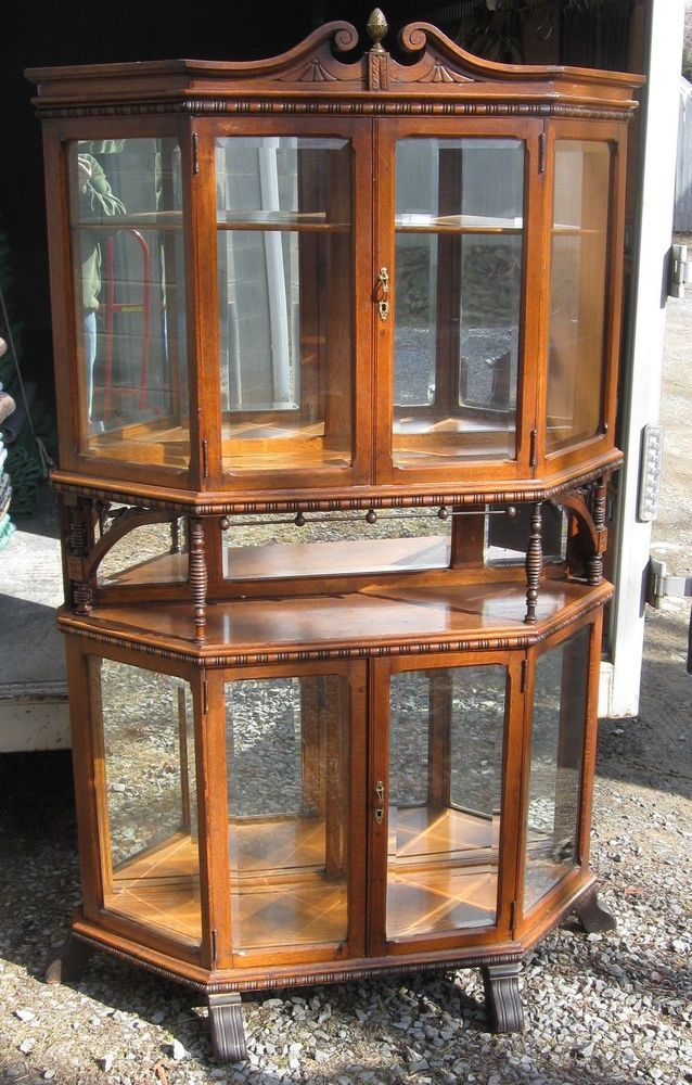 CARVED OAK BEVELED GLASS CHINA CABINET #Victorian