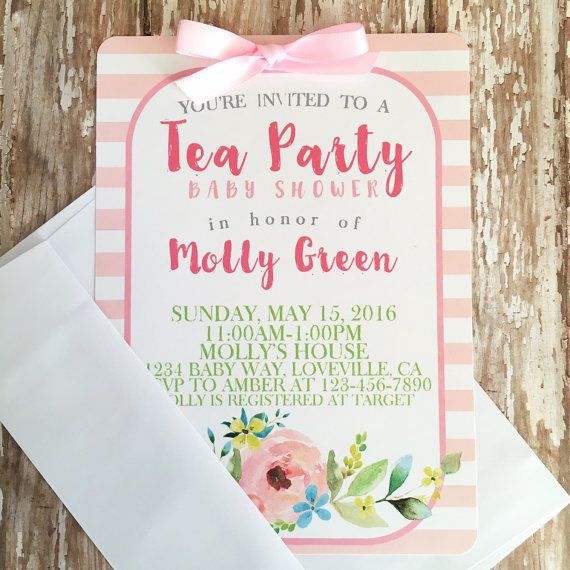 12 baby shower tea party invitations with by simplysweetpartyshop