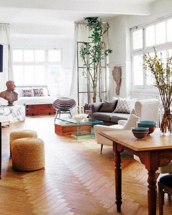 einzimmerwohnung im vintage stil 1- Zimmer Wohnung einrichten - einrichtungsideen raeume wohnung interieur bilder