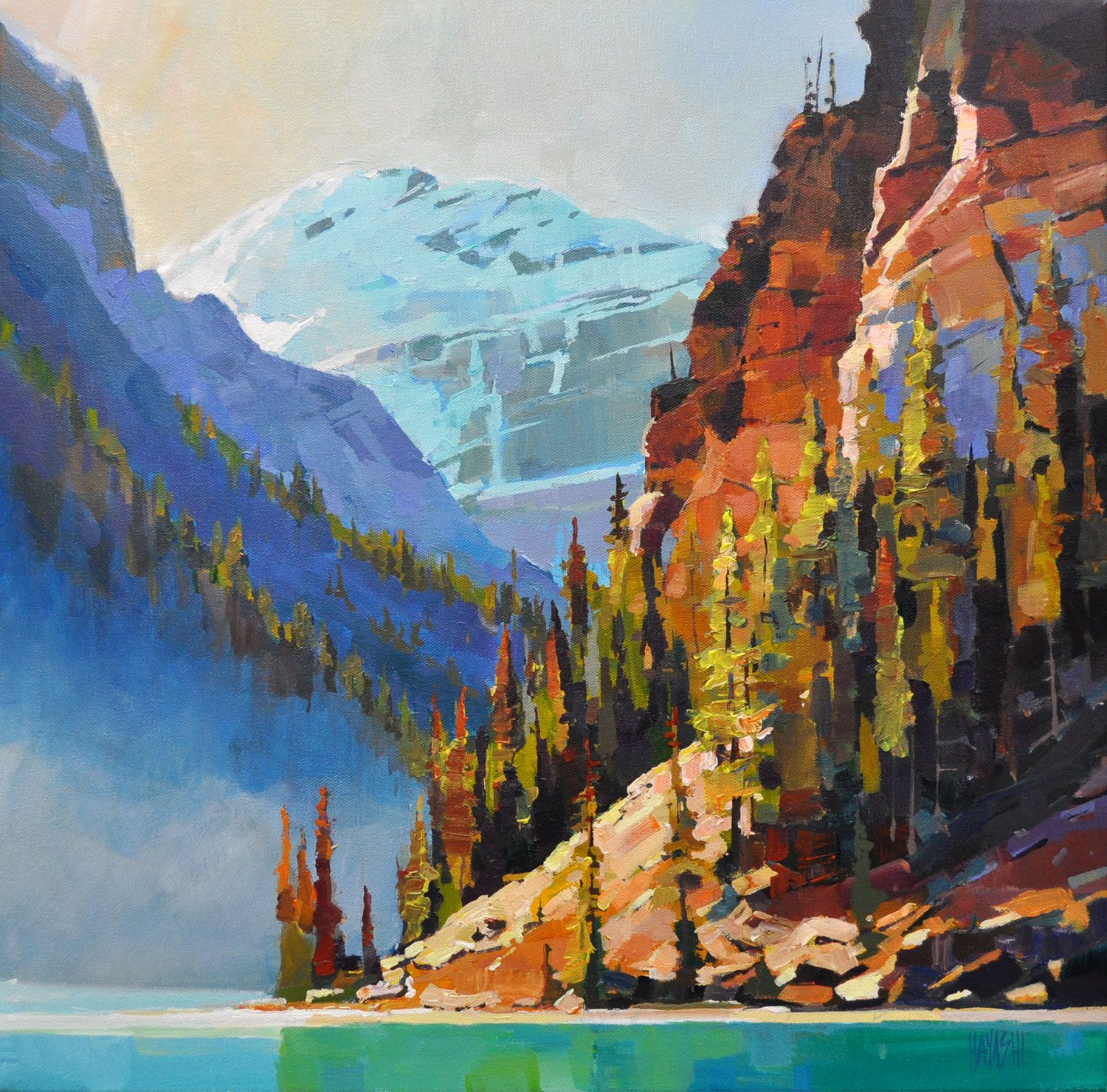 Framing Lefroy 20x20 Lake Louise Acrylic On Canvas Www