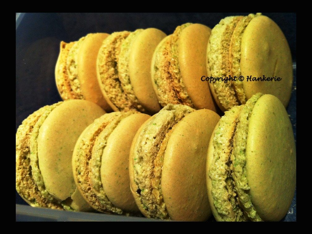 French Pistachio Macarons (With Passion Fruits cream