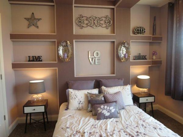 Einrichtungsideen Schlafzimmer Farben Warme Farben Bett Wanddeko
