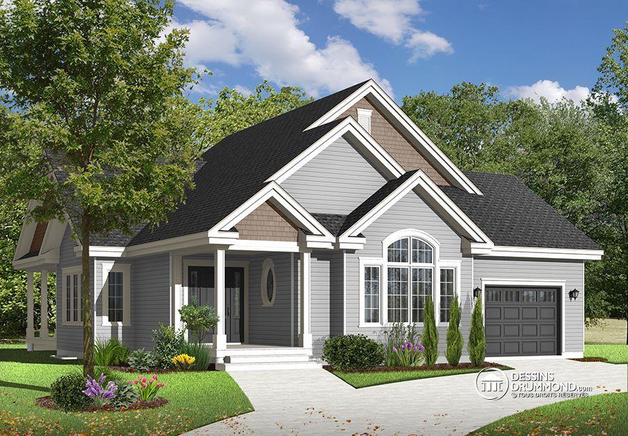 W3235-V1 - Modèle de maison de style transitionnel, garage, patio