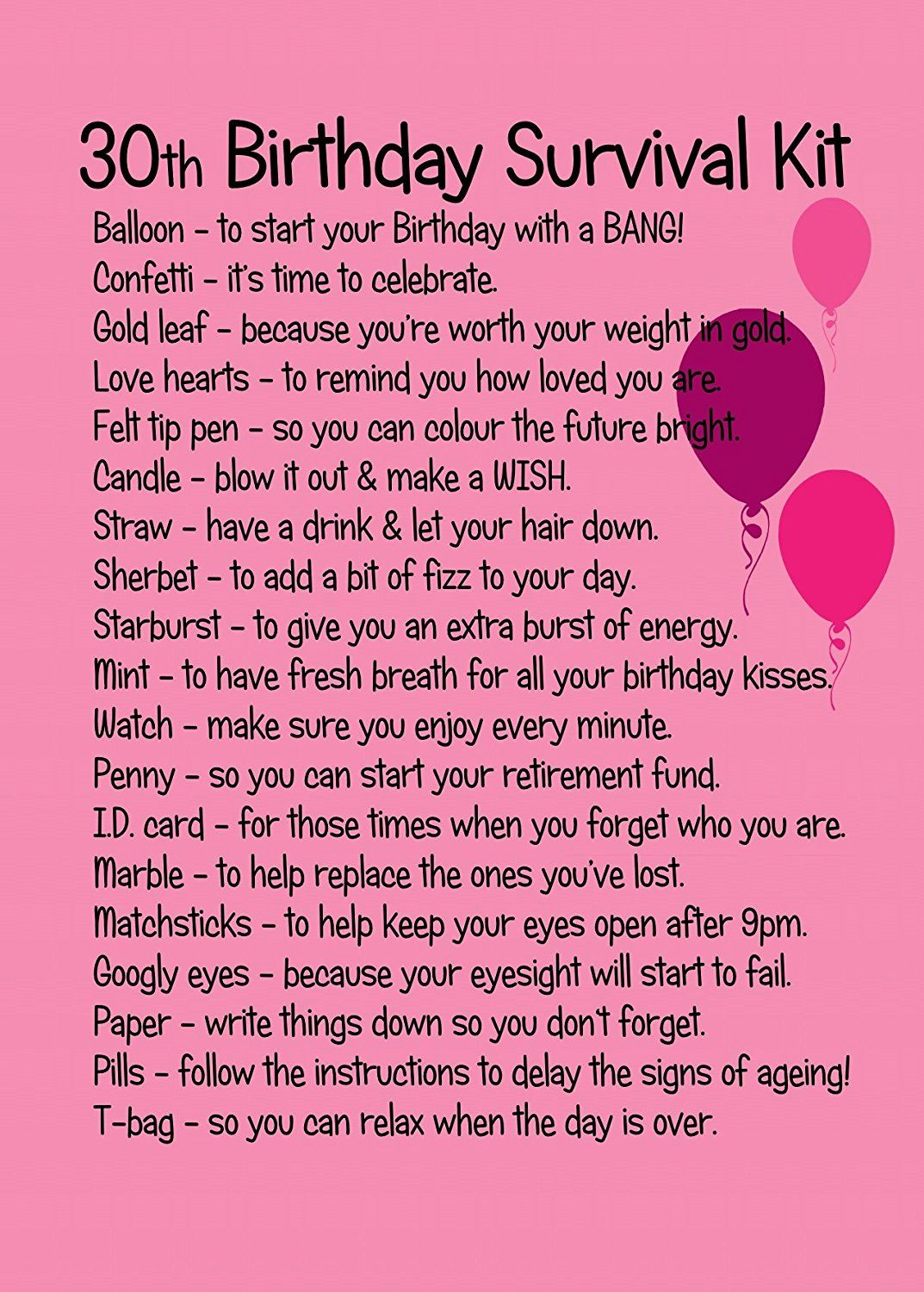 30th Birthday Survival Kit Pink Birthday Pinterest