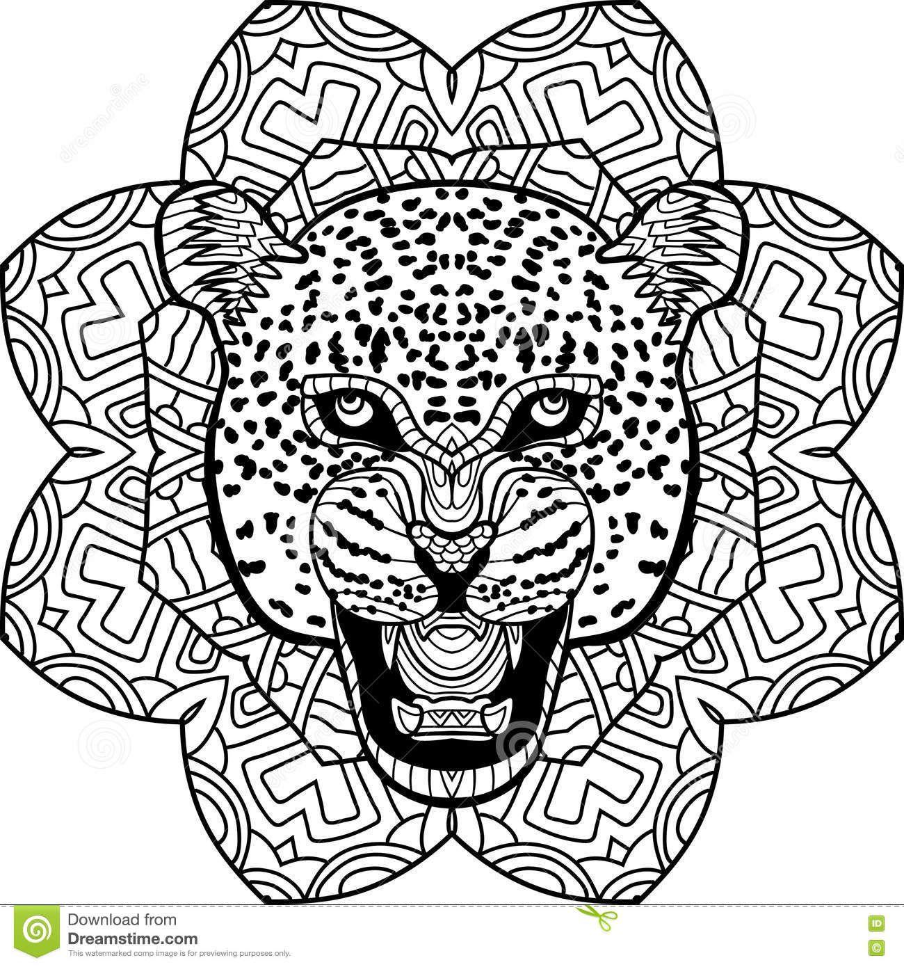 Página Que Colorea Para Los Adultos Jaguar Severo En Un Fondo Del ...