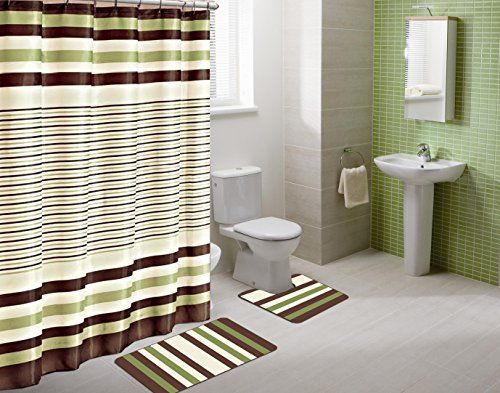 Winry Sage Green Striped 15piece Bathroom Accessory Set 2 Bath Mats Shower Curtain 1 Green Shower Curtains Brown Shower Curtain Bathroom Fancy Shower Curtains