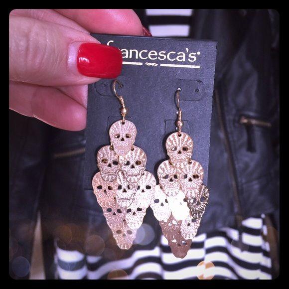 ✨Gold tone Skull Head drop earrings Extra Pics✨ How Adorable! Light weight gold toned Skull Head dangling earrings. Price is final. Francesca's Collections Jewelry Earrings