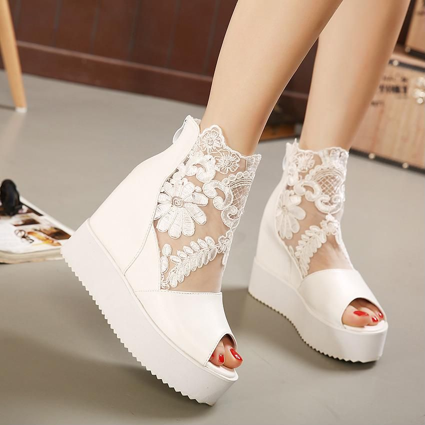 342622fc513 Wedge sandals inside thickening high heel women s shoes fish mouth lace  hollow sandals 2019 summer new