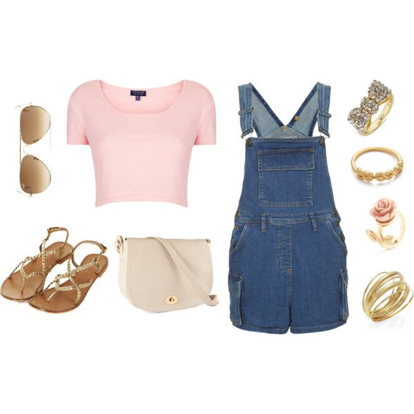 Dungarees, sandals, croptop, and raybans. Topshop, Eleanor Calder inspired #rings #fashion