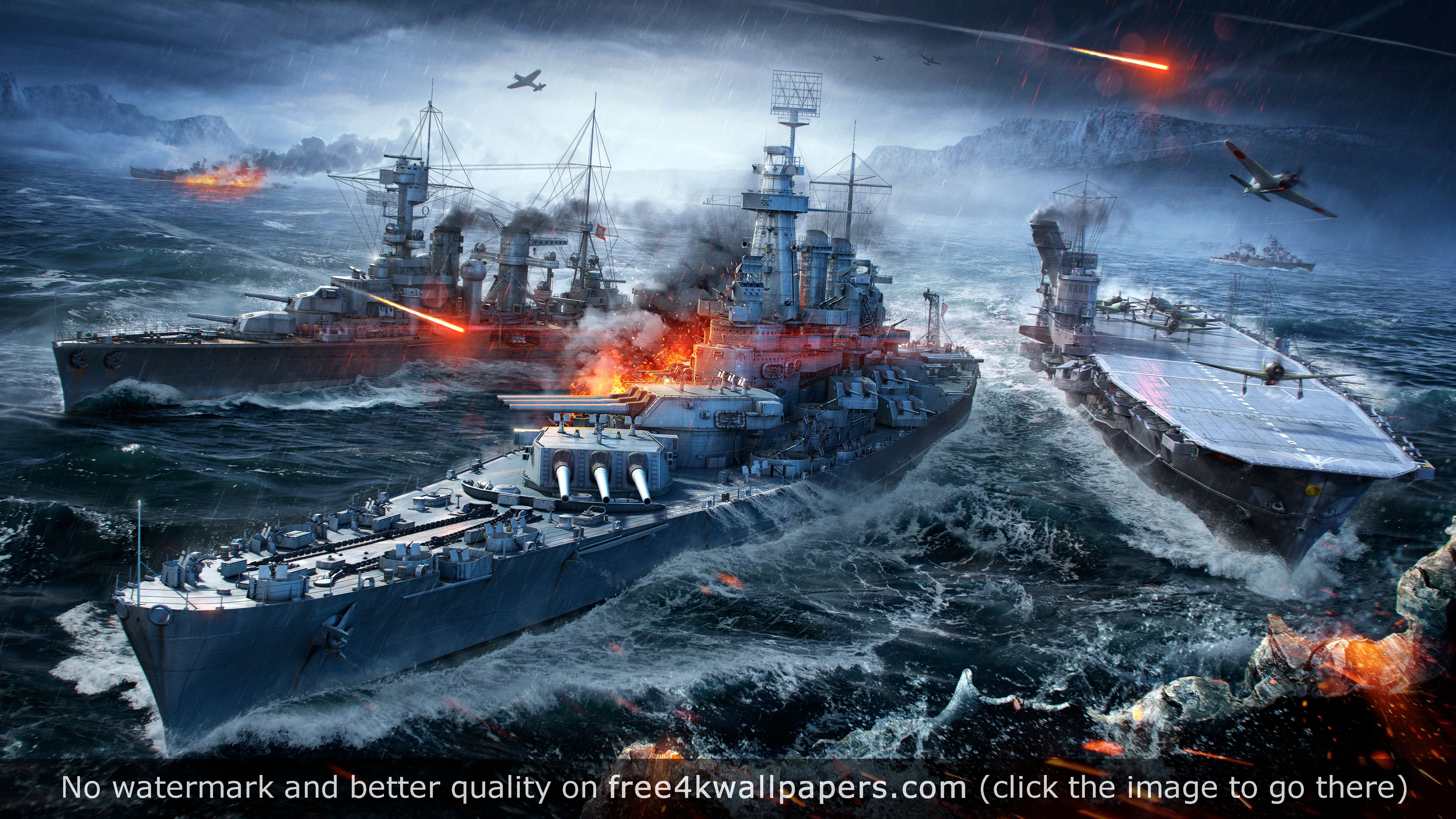 World Of Warships Naval Sea Battle 5k Wallpaper With Images