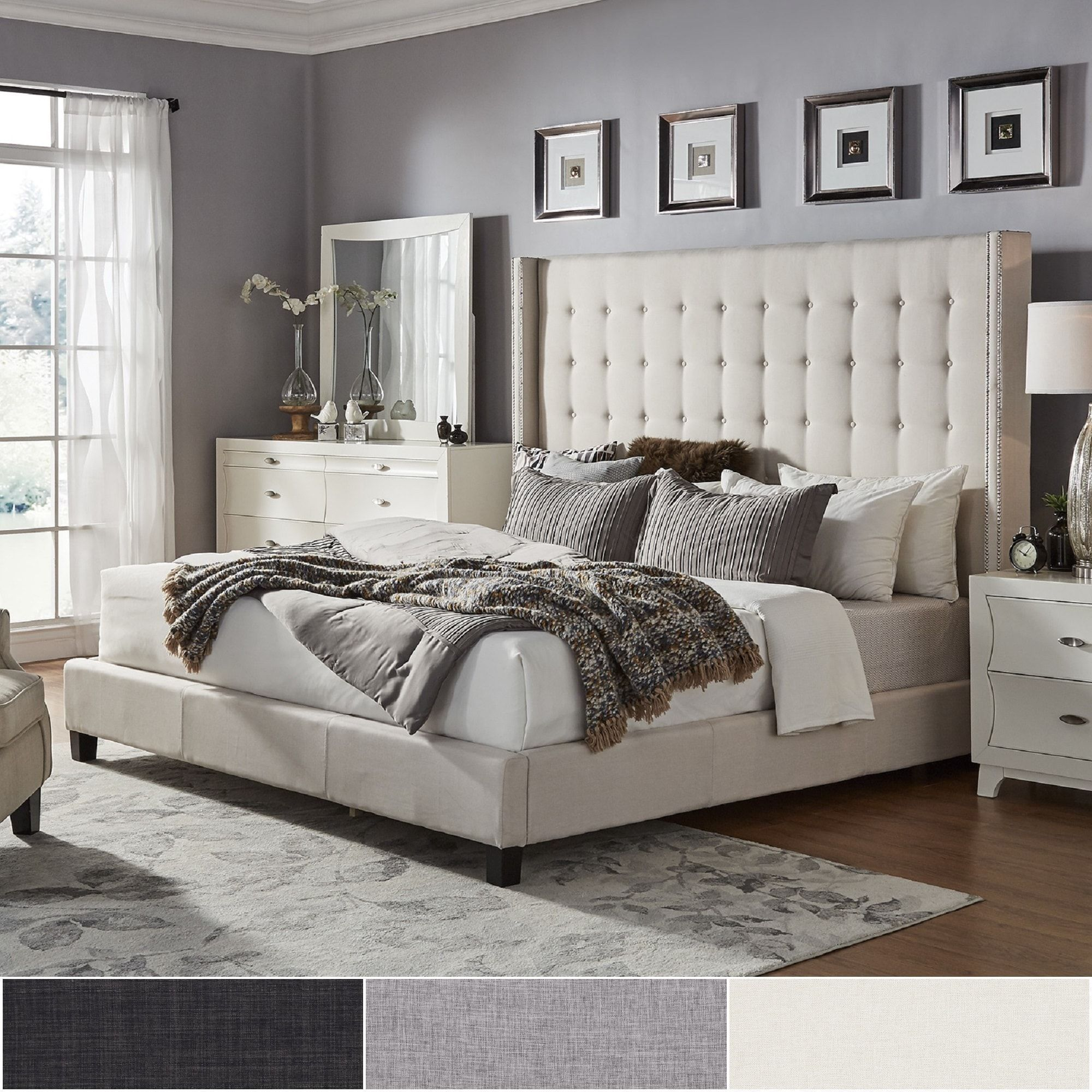 Marion Nailhead Wingback Tufted Tall Headboard Platform Bed By
