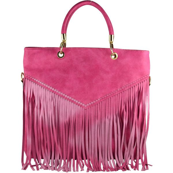 Rimen & Co. Fringe Indie Inspired Tote Shopper Handbag (£28) ❤ liked on Polyvore featuring bags, handbags, tote bags, beige, leather tote shopper, pink leather tote, handbags & purses, leather hand bags and shopping tote