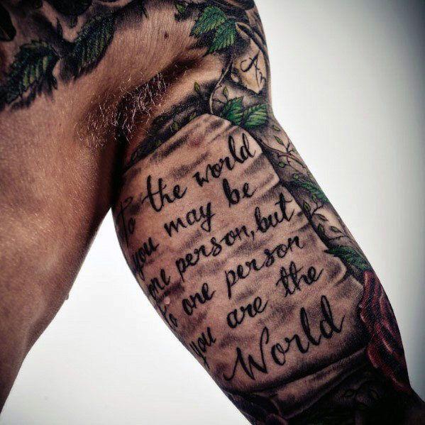 Schrift arm männer tattoos Tattoo Schrift