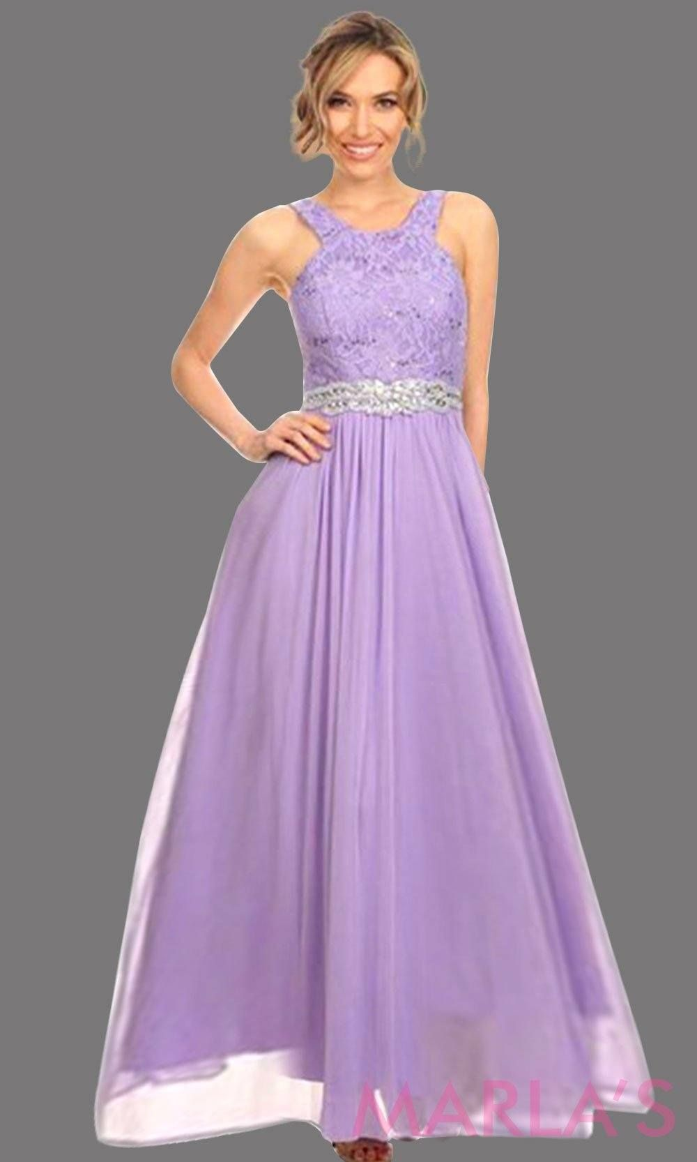 Long High Neck Light Purple Flowy Party Dress The High Neck Is Lace And Flows Into A Chiffon Skirt T Lilac Prom Dresses Prom Dresses Lilac Bridesmaid Dresses [ 1666 x 1000 Pixel ]