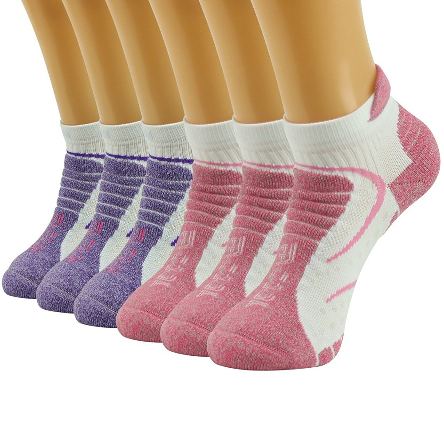 Facool Womens Moisture Wicking Athletic Cushion Hiking Camping Running Walking Ankle Socks 6 Pairs