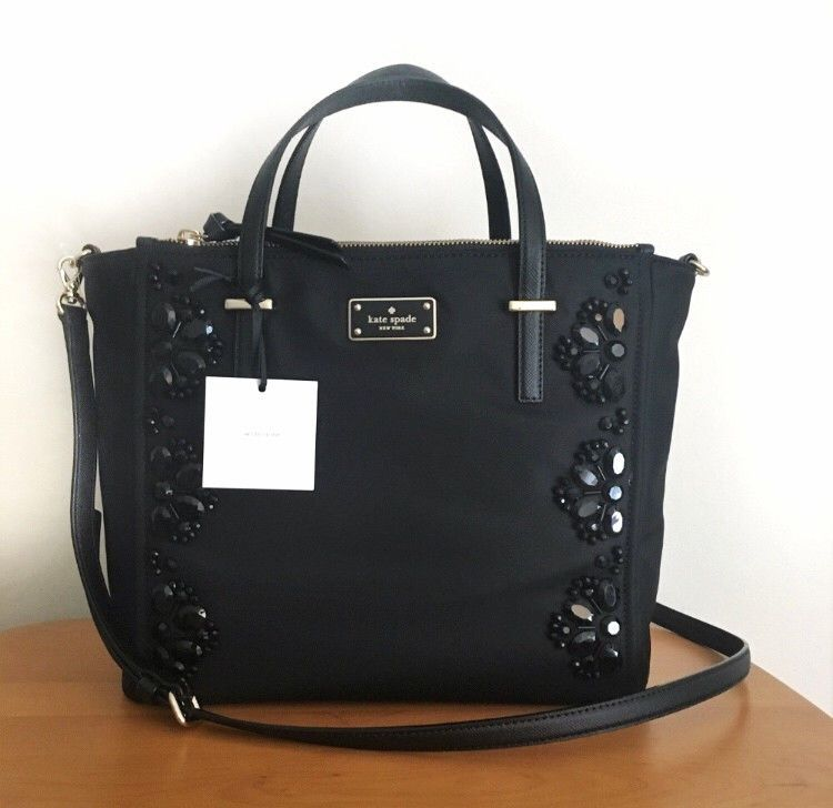 c9ebf71b86228 KATE SPADE Alyse Satchel Crossbody ~ Embellished Black Nylon ~ Wilson Road  NWT  katespade  Satchel