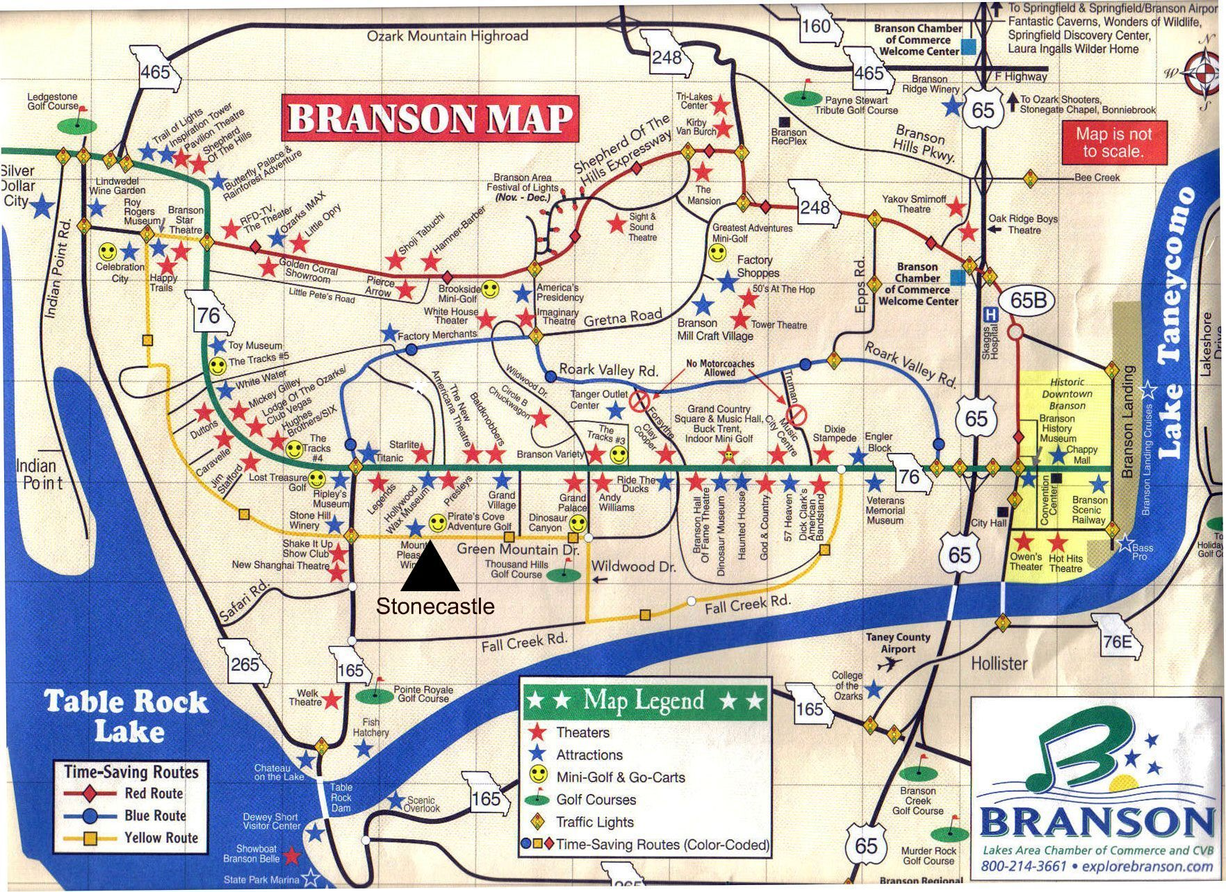 Branson Map With Hotels Travel Guide